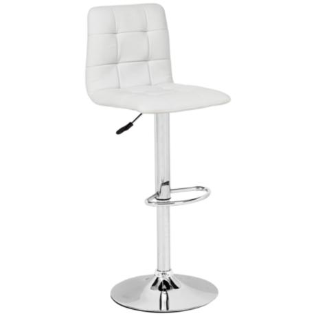 Zuo Oxygen White Adjustable Height Bar or Counter Stool