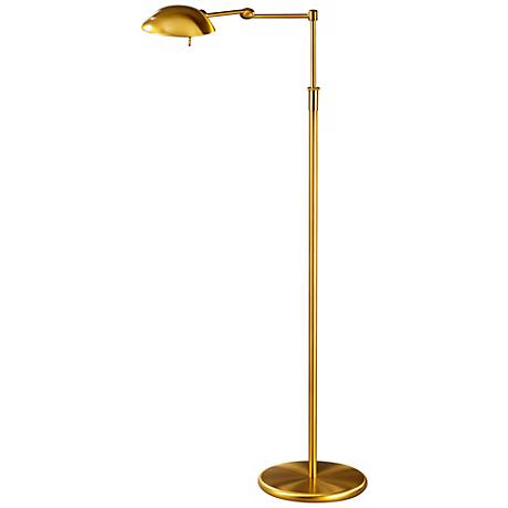 Antique Brass Pharmacy Swing Arm Holtkoetter Floor Lamp