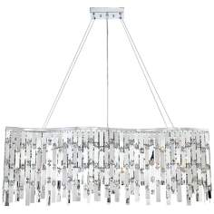 Possini Euro Wave Rectangle Chrome and Crystal Chandelier