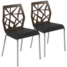 Sophia Set of 2 Walnut Black and Chrome Side Chairs