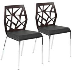 Sophia Set of 2 Wenge Black and Chrome Side Chairs