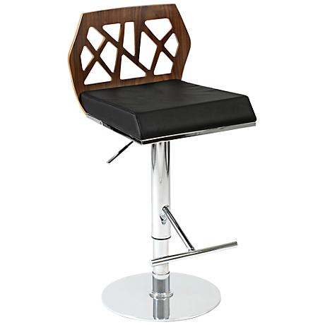 Sophia Walnut Black and Chrome Bar or Counter Stool