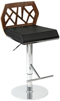 Sophia Walnut Black and Chrome Bar or Counter Stool (M7710)