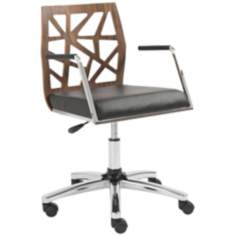 Sophia Walnut Black and Chrome Office Chair