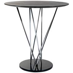 Stacy Black Ebony and Chrome Bar Table