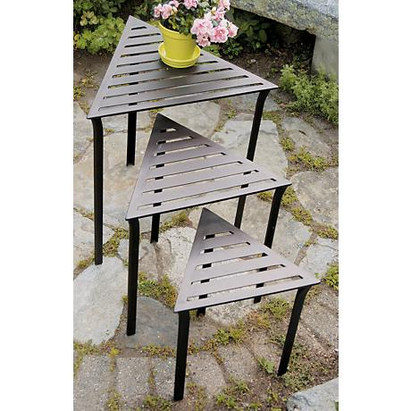 Set of 3 Triangular Indoor-Outdoor Nesting Tables