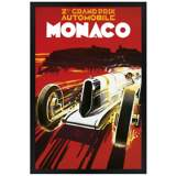 "Monaco Grand Prix 30"" High Black Rectangular Giclee Wall Art"