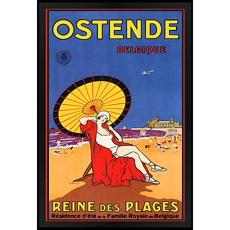 "Ostende Belgique 30"" High Black Rectangular Giclee Wall Art"