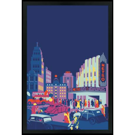 "Gotham 30"" High Black Rectangular Giclee Wall Art"