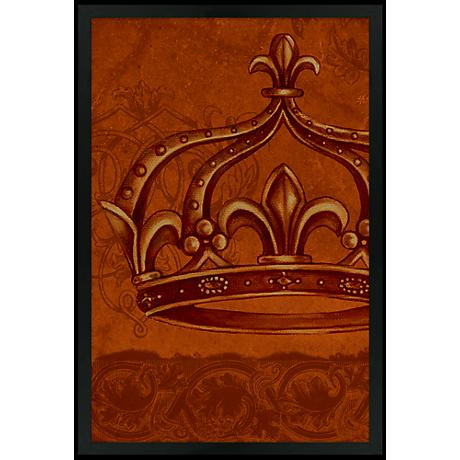 "Crown Red 30"" High Black Rectangular Giclee Wall Art"