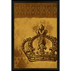 "Crown Gold 30"" High Black Rectangular Giclee Wall Art"