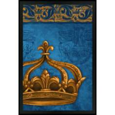 "Crown Blue 30"" High Black Rectangular Giclee Wall Art"