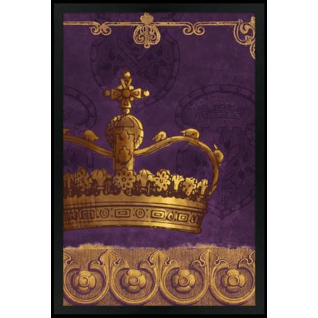 "Crown Purple 30"" High Black Rectangular Giclee Wall Art"