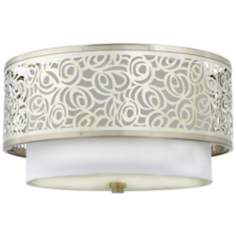 "Josslyn Collection Nickel 15"" Wide Flushmount Ceiling Light"