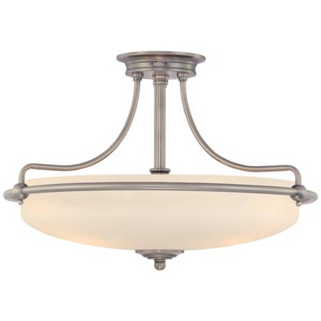 "Griffin Collection Antique Nickel 21"" Wide Ceiling Light"