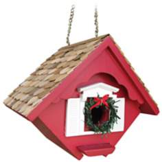 Red Christmas Wren Cottage Bird House