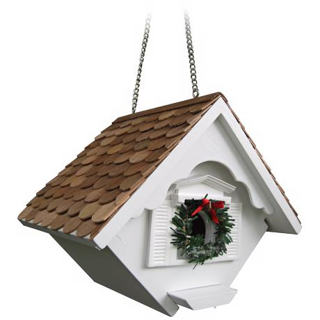 White Christmas Wren Cottage Bird House
