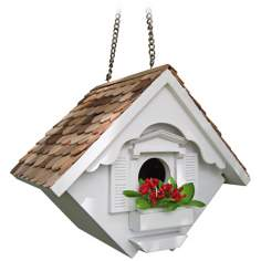White Little Wren Cottage Bird House