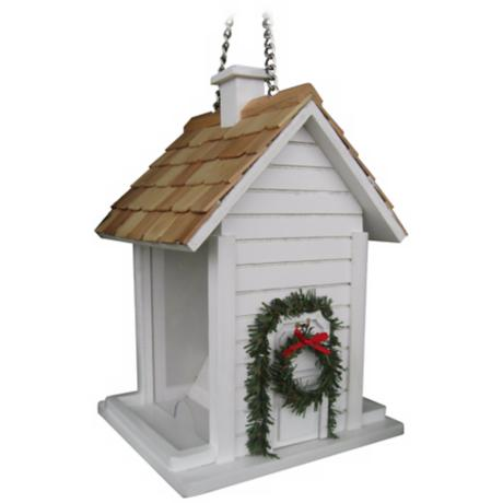White Christmas Cottage Bird House