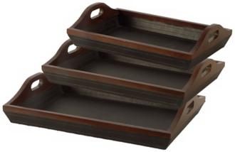 Mahogany Finish Serving Trays