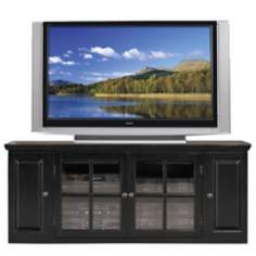 "Hand-Rubbed Black 62"" Wide Plasma TV Stand"