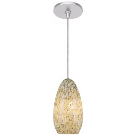 Banja Ivory Opaque with Satin Nickel Fusion Jack Mini Pendant