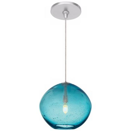 "Mini Isla Aqua 7"" Wide Satin Nickel Pendant"