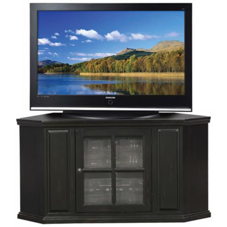 "Hand-Rubbed Black 46"" Wide Corner Plasma TV Stand"