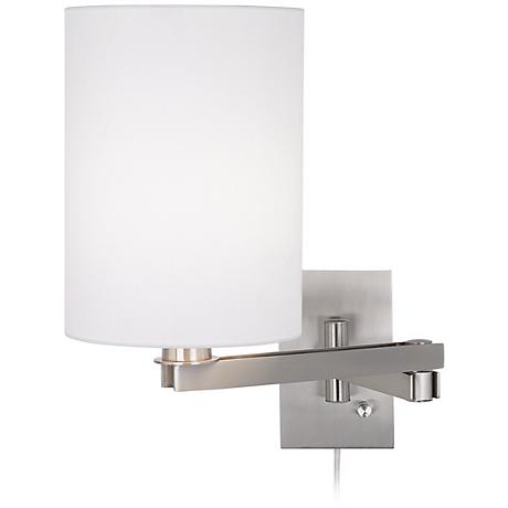 Possini Euro Design White Cylinder Shade Plug-In Swing Arm
