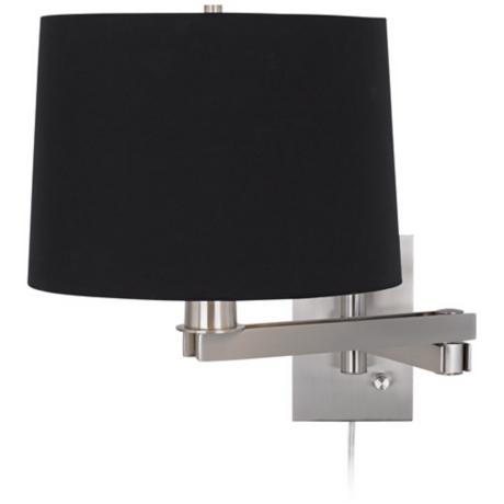 Possini Euro Design Black Drum Shade Plug-In Swing Arm