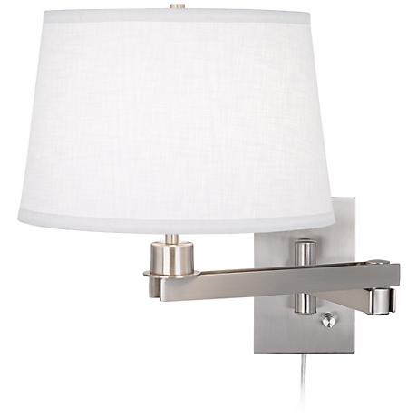 Possini Euro Design White Linen Shade Plug-in Swing Arm