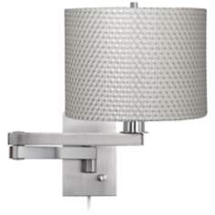 Possini Euro White and Silver Weave Plug-In Swing Arm Wall Lamp