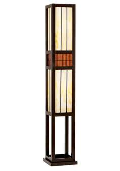Wood and Art Glass Rectangle Floor Lamp