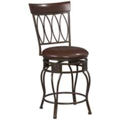 "Linon Four Oval Back 24"" High Swivel Counter Stool"