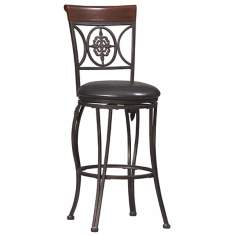 "Linon Fleur De Lis 24"" High Swivel Counter Bar Stool"