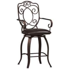 "Linon Crested Back 24"" High Swivel Counter Bar Stool"