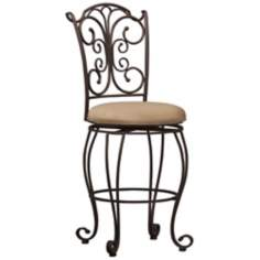 "Linon Swivel Seat Gathered Back 24"" Counter Stool"