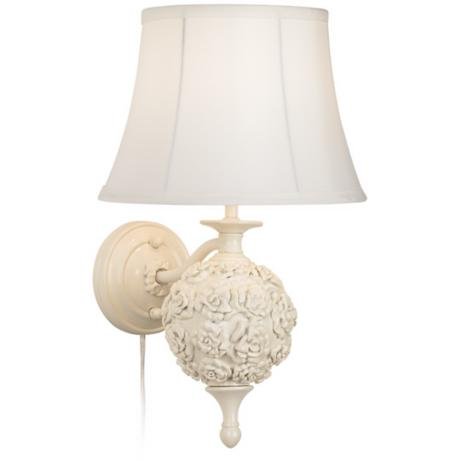 Wakefield Roses White Plug-In Wall Lamp