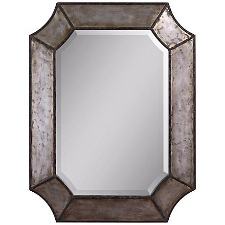 "Uttermost Elliot Burnished Aluminum 32"" High Wall Mirror"