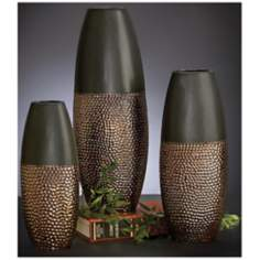 Set of 3 Hunter Green Vases w/ Hammered Gold