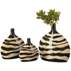 Set of 3 Black and Cream Zebra Striped Vases