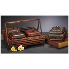 Set of 4 Multicolor Faux Leather Jewelry Boxes w/ Basket