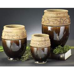 Set of 3 Mottled Moss Green Glaze Ceramic Urn Vases