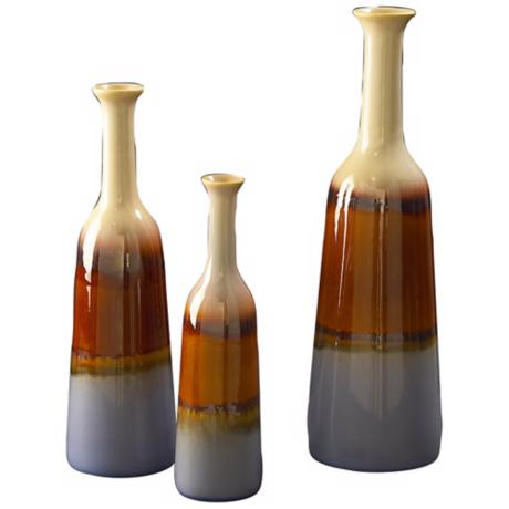 Set of 3 Multicolored Glazed Ceramic Bottles
