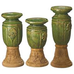 Set of 3 Celadon Glaze Old World Fired Candle Holders