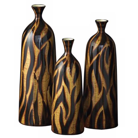 Set of 3 Gold, Copper and Black Tribal Zebra Ceramic Bottles