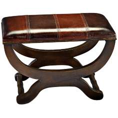 Howard Elliott Collection Two-Tone Faux Leather Ottoman