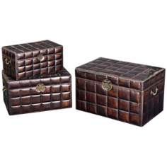 Set of 3 Deep Brown Faux Leather Decorative Chests