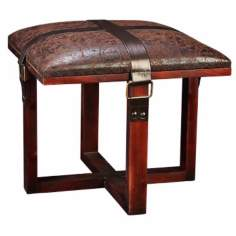 Distressed Faux Leather Padded Stool