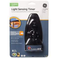 Black Light Sensing Dusk-to-Dawn Two-Outlet Timer